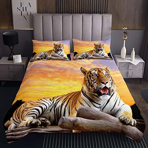 Tbrand 3D Tiger Duvet Cover Set Animal Theme Bedding Set Tiger Sitting In The Sunset Comforter Cover Wildlife Style Decor Quilt Cover for Kids Men Adults Bedroom Collection 3Pcs King Size