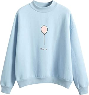 Holzkary Women's Cute Pattern Print Tops Female Long Sleeve Casual Pullover Sweatshirts