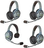 Eartec UL413 UltraLITE Full Duplex Wireless Headset Communication for 4 Users - 1 Single Ear and 3 Dual Ear Headsets