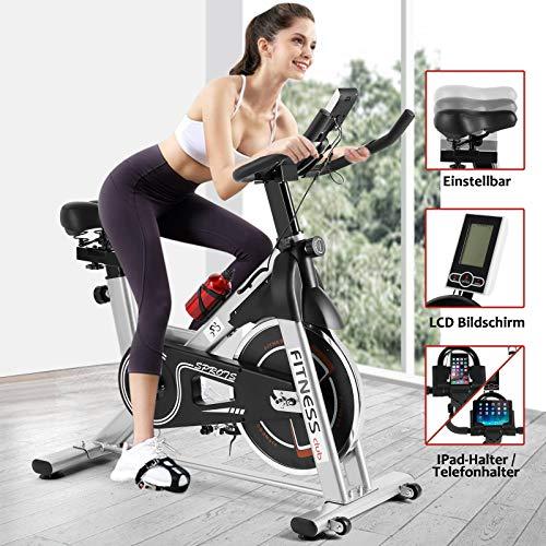 Fitnessclub Heimtrainer Radfahren mit Riemen angetriebenes Schwungrad Radfahren Verstellbarer Lenker Sitzwiderstand Digitaler Monitor Herzfrequenzsensoren Telefonhalter Flasche Silberig