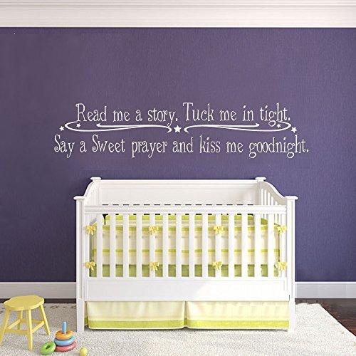 Calcomanía de pared para niños con cita en inglés «Read me a Story Tuck me in Tight Say a sweet prayer and Kiss me Goodnight» – Pegatina de vinilo para habitación de bebé (marrón oscuro, 25,4 x 116,8 cm)