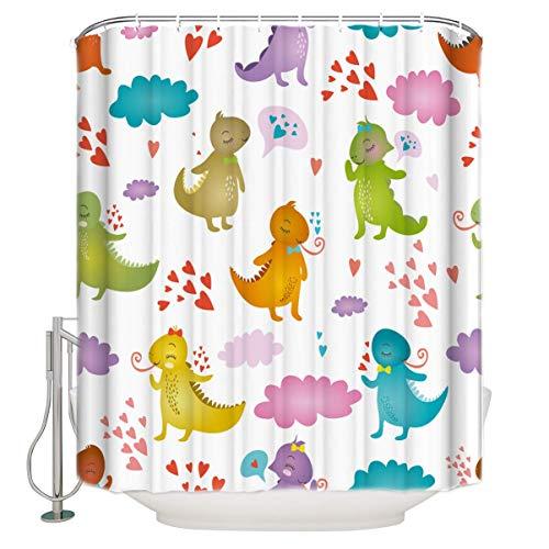 N \ A Niedlicher Cartoon-Leguana-Duschvorhang aus strapazierfähigem Polyester-Stoff, für Zuhause, Hotel, Maschinenwäsche, Duschvorhang mit Haken, 121,9 x 182,9 cm