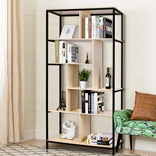 amzdeal 5-Tier Bookshelf, 33.5'' L X 11'' W X 68.1'' H Bookcase Display Shelf and S Shape Bookshelf Room Divider, Easy Assembly, for Home, Office Storage