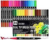 Surcotto Lot de 36 feutres aquarelle Dual Brush Pen, stylos pinceau 1-2 mm et double pointe fine 0,4 mm, pour livre de coloriage, bullet journal, croquis, calligraphie pour enfants et adultes