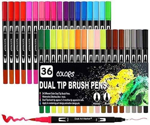 Surcotto - Juego de rotuladores de doble punta (36 colores, acuarela, punta fina de 0,4 mm y lápices de 1 a 2 mm, para colorear, bocetos, caligrafía, niños y adultos)