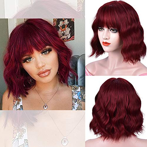 RunM Red Short Wavy Bob Wig with Bangs for Women Short Wavy Curly Shoulder Length Synthetic Wig Cosplay Party Daily Use 11 Inches(Red)
