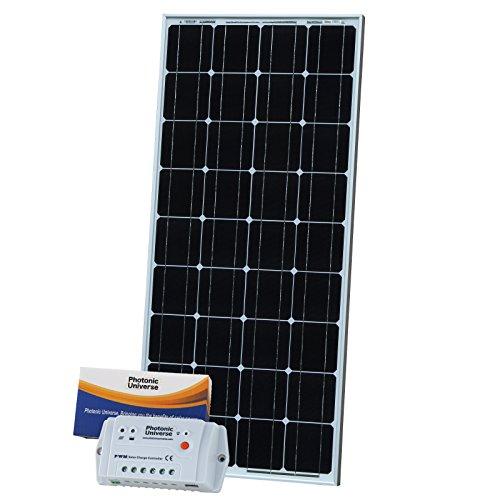 100 W Photonic Universe kit de carga solar fotovoltaico monocristalino con 10 A automático de carga solar (evita que la protección contra sobrecarga y diseño de flujo) y 5 m cable de carga con 12 V batería
