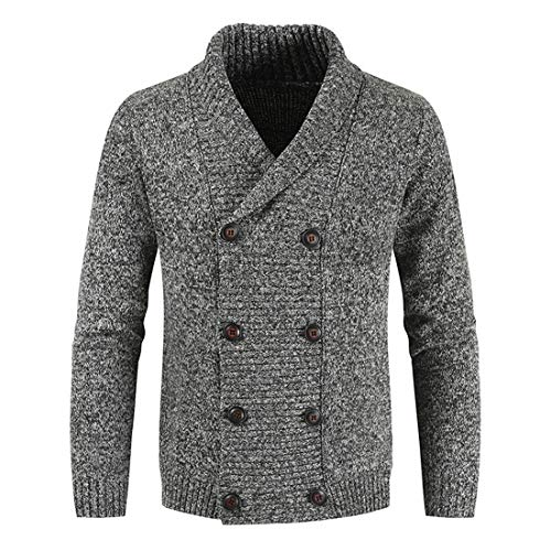 ZYUD Men Open-Front Cardigan Knitted Winter Double Breasted Lapel Sweater Coats Jackets Casual Knit Jacket Cardigan Long Sleeve Jacket Shirt Windproof Coat All-Match Big Button Cardigan