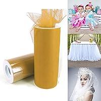 休日の装飾 ファッション20Dポリエステルチュールロール、結婚式の誕生日の装飾装飾工芸用品、全長:22.8メートル、幅:15センチメートル(スイカレッド) (Color : Yellow)