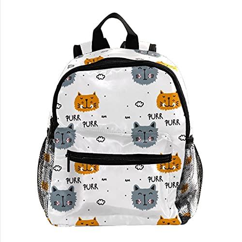 Schnurren Katzen MIAU-Muster Leichter Kinderrucksack Kleinkind Kinder Schultasche Robuster, lässiger Buchrucksack für Mädchen und Jungen 25.4x10x30cm