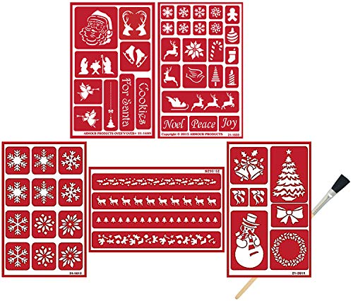 Armour Etch Over N Over Reusable Glass Etching Stencils | Etch Stencil Set with Santa Claus, Snowflake, Reindeer, Wreath, Angels, Nativity, Noel, Peace, Joy Theme | Includes Brush, Total 6 Items