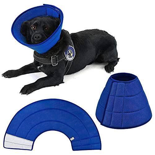 Collar de recuperación suave E-collor para mascotas perros gatos conejos, malla transpirable cono protector de curación más rápida, antimordedura, fácil de comer y beber (azul)
