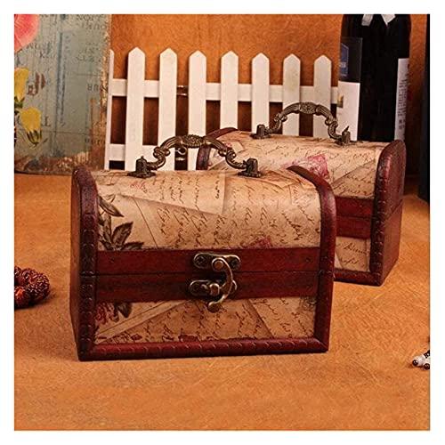 sacfun Juego de Caja de Maleta Multifuncional de 2 Caja de Estampado de Sello Vintage Caja de Almacenamiento de Madera pequeña joyería de Madera Ideas de Regalo Cajas Decorativas