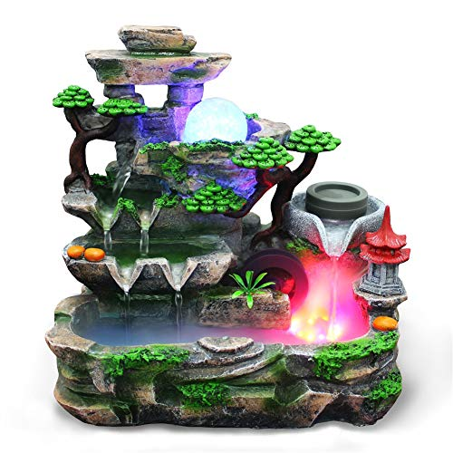 Tabletop Fountain, Resin Mini Silent Colorful Light Waterfall Fountain Zen Meditation Desktop Simulation Rockery Water Fountain Bonsai Home Decor with Atomization Effect for Office Bedroom (US)