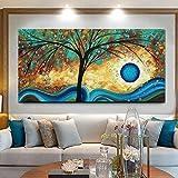 KWzEQ Leinwanddrucke Abstrakte Baumwandkunst dekoratives Bild Wohnkultur Wohnzimmer Sofa Wanddekoration50x100cmRahmenlose Malerei