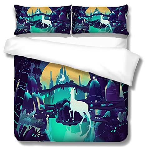 Funda de edredón grande de poliéster con estampado de alce y funda de almohada de cama individual cama doble 3Or2 piezas set multi-tamaño 172 × 218 cm (3 piezas) Elk print