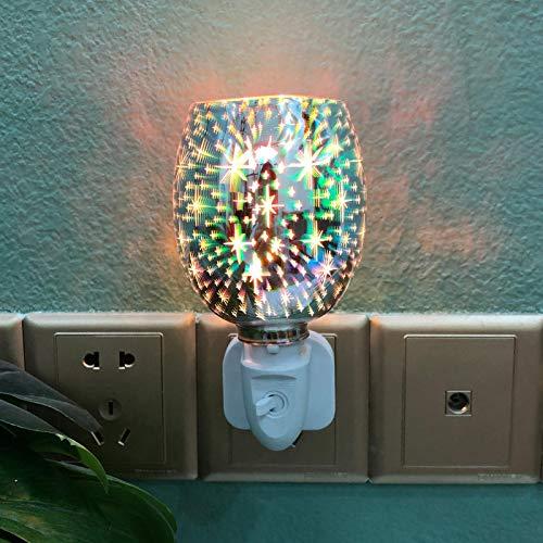 sympuk 3D Glas Aromatherapie Lampe Feuerwerk Effekt Aroma Lampe Für Wachs Schmilzt Glas Ätherische Öl Brenner Melt Wärmer Nachtlicht Dekor Für Home Office Schlafzimmer Wohnzimmer Amazing