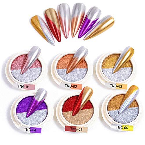 BISHENGYF Pigmentos de polvo de cromo con efecto espejo de doble color, polvo de uñas, arte de uñas, brillo degradado para decoración de uñas (6 cajas)
