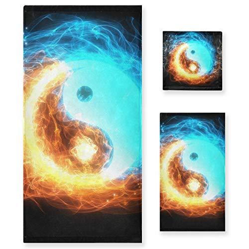 Juego de 3 Toallas de algodón de Lujo para baño para Mujeres, Hombres, baño, Cocina, 1 Toalla de baño, 1 Toallas de Mano, 1 toallitas-Art Water Fire Yin Yang