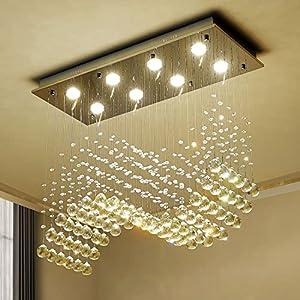 "Saint Mossi 8-Lights Modern Chandelier K9 Crystal Chandelier Light Fixture,Modern Flush Mount Ceiling Light Fixtures Raindrop Chandelier for Bedroom,Living Room,Dining Room,L30"" x W12"" x H26"""
