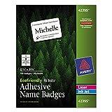 Avery 42395 EcoFriendly Adhesive Name Badge Labels, 2 1/3 x 3 3/8, White, 160/Box
