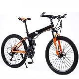 Bicicleta Plegable 24/27 Velocidad Bicicleta De Montaña 24 Pulgadas Ruedas MTB Dual Suspensión Bicicleta Adulto Estudiante Al Aire Libre Deporte Ciclismo,Naranja,27 Speed