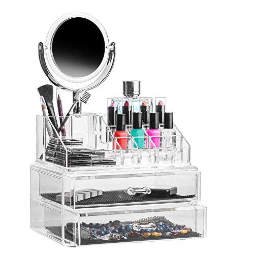 Solly´s Claudia Aufbewahrungsbox mit Spiegel - Für Schminke, Make Up und Schmuck, aus Acryl zur Aufbewahrung von Beauty Accessoires