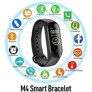 Pulsera de Actividad física M4, Reloj Inteligente con Monitor de Ritmo cardíaco, Impermeable IP67, podómetro, Pulsera Deportiva, Monitores de Actividad,Pulsera de Salud y Fitness