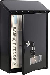 Wall Mounted Mailboxes with Key Lock, Small Mail Box with Transparent Cover, 12 1/5