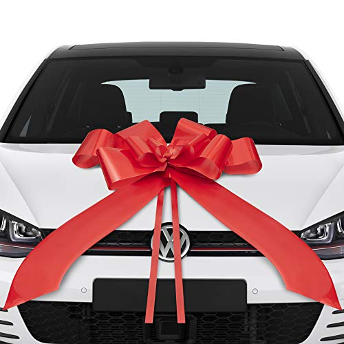 Lisellion® Schleife für Auto, 18 Geburtstag Auto, große Geschenkschleife, Riesenschleife für Auto, rote Schleife Auto, Auto Weihnachtsdeko, Schleife Auto, große Schleife