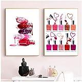 MULMF Poster per Il Trucco dello Smalto per Unghie | Illustrazione di Trucco, Arredamento Bagno, Pittura su Tela, Decorazione murale per Soggiorno 40x60cmx2 Senza Cornice