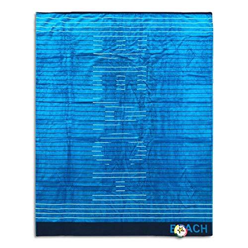 Toalla de playa de matrimonio de rizo de algodón, 150 x 170 cm, varios diseños (playa azul)