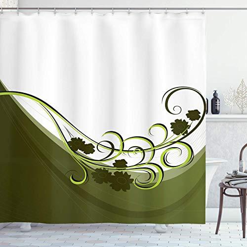 Aliyz Olivgrün Duschvorhang Hochzeit inspiriert Blumenschmuck gedeihen natürlichen bedruckten Stoff Badezimmer Dekor langlebig leicht zu reinigen wasserdichtes Gewebe beinhaltet 12 Kunststoffhaken