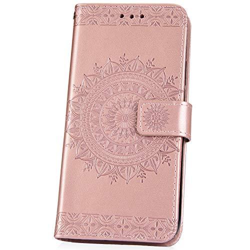 JAWSEU Coque Huawei P20 Pro,Etui Huawei P20 Pro Portefeuille PU Étui Folio Cuir à Rabat Magnétique Luxe rétro Fleur Motif Ultra Mince Stand Leather PU Case Flip Wallet Case,Or Rose