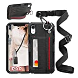 UKON Phone Lanyard Case Phone Necklace Case Adjustable Crossbody Lanyard Case Detachable Phone Tether with Card Slot and Stretchable Finger Kickstand Case for iPhone XR