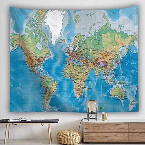 Scrolor Tapisserie Gobelin Tapesrty - Decorazione da Parete per libreria Scolastica Studio Office World Map Multi Color, Poliestere, Mehrfarbig 2, 100x150cm