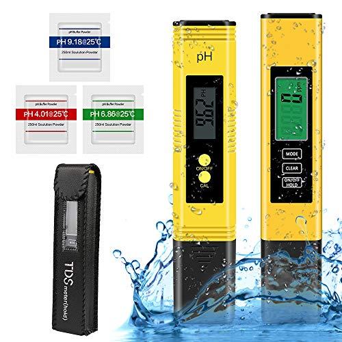 PH Messgerät pH TDS EC Temperatur 4 in 1 Set Pool Tester Wasserqualität Tester (ATC) pH Meter pH Tester mit LCD Anzeige Digitales PH Wert TDS Messgerät für Trinkwasser Schwimmbad Aquarium Pools Labor