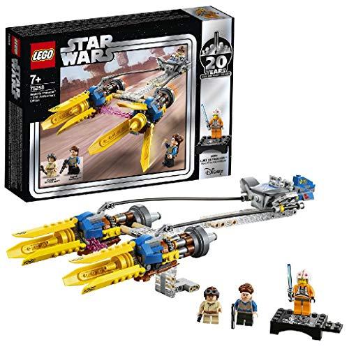LEGO - Star Wars Vaina de Carreras de Anakin Edición 20 Aniversario, Juguete de Construcción de Nave de Carreras de Skywalker del Episodio I, Incluye Minifigura de Luke Skywalker (75258)