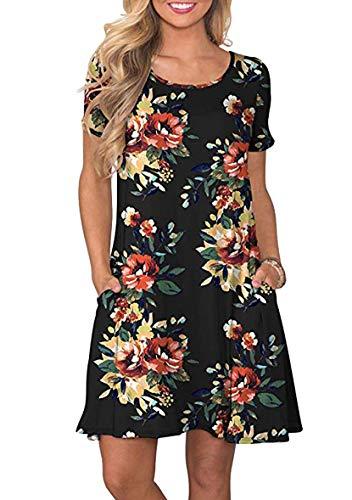 YMING Vestido de manga corta con estampado de flores para mujer con bolsillo XS-XL