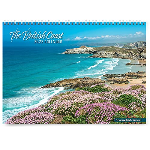 British Coast 2022 Calendar – month view calendar, with beautiful scenery from the UK. Useful as a 2022 wall planner or 2022 family calendar. Printed by CO2 neutral printer, using vegetable inks.