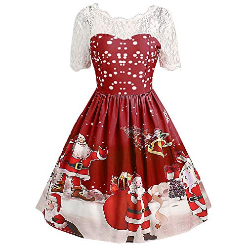 Kerst Vrouwen Kostuums Dames Sexy Vintage O Hals Kant Korte Mouw Print Jurk Party Swing Jurk Kerstmis Kerstmis Xmas Geschenken Mini Jurk Tops