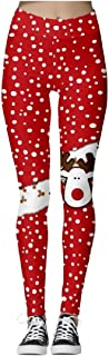 Macondoo Women Training Trousers Christmas Yoga High Waist Printed Legging