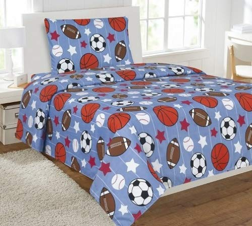 Elegant Home Multicolor Blue White Orange Brown Sports Basketball Football Baseball Soccer 3 Piece Printed Twin Sheet Set with Pillowcase Flat Fitted Sheet for Boys / Kids/ Teens # Game Day