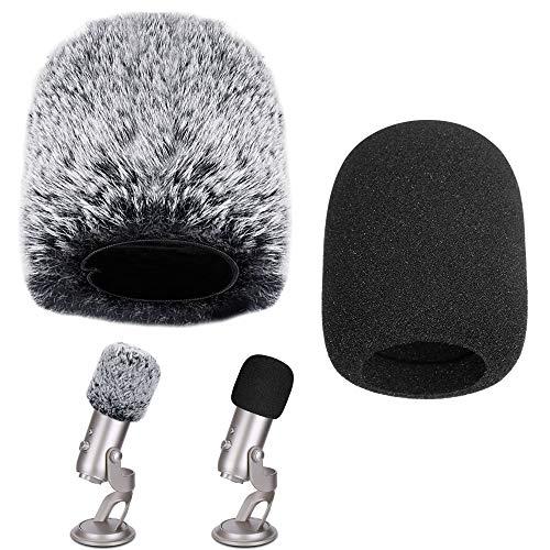 TANCUDER 2PCS Protectores de Micrófono Cubierta para Micrófono Funda de Espuma de Micrófono Peludo de Micrófono Protector para Cortavientos de Micrófono Ideal para Blue Yeti, Yeti Pro