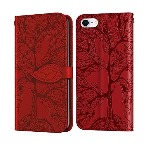 Keikail iPhone SE 2020 Funda, Funda iPhone 7 /iPhone 8 Libro con Cierre Magnético Tarjetero y Suporte Cuero Premium Fundas, Flip Folio Phone Cover Case, PU TPU Protección, Rojo