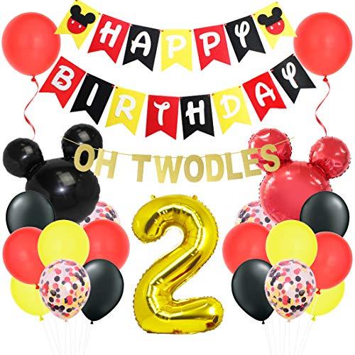 Kreatwow Mickey Oh Twodles 2. Geburtstag Dekorationen Kit mit Minnie Banner Girlande Mickey Kopf Luftballons für zweite Geburtstagsfeier Lieferungen
