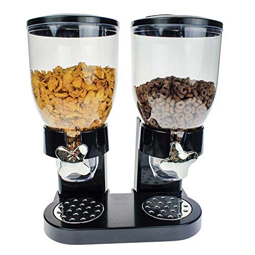 Geschenkbox Doppel-Spender für Müsli, Cornflakes und Cerealien in schwarz