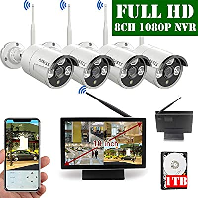 ?2020 Update? 10 inch Screen HD 1080P 8-Channel Outdoor Wireless Security Camera System,4pcs 1080P Wireless IP67 Weatherproof IP Cameras,70FT Night Vision,P2P,App, 1TB Hard Drive