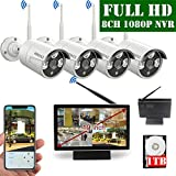 【2020 Update】 10 inch Screen HD 1080P 8-Channel Outdoor Wireless Security Camera System,4pcs 1080P Wireless IP67 Weatherproof IP Cameras,70FT Night Vision,P2P,App, 1TB Hard Drive