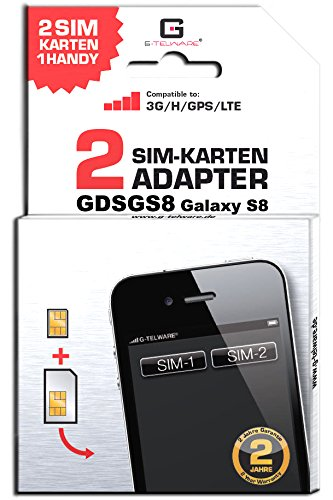 G-TELWARE GDSGS8/ 2 Jahre Garantie!/ Mehrsprachig/Zifferncodefähig/Dual SIM DualSIM Adapter Karte Card Samsung Galaxy S8 UMTS/3G/HSDPA/GPS
